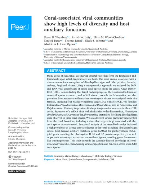 diversity auxiliary functions viral communities associated coral levels host