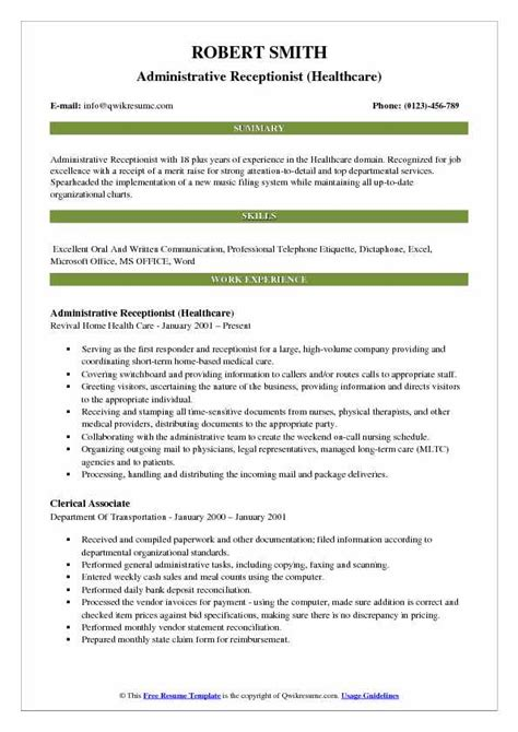 Resume Etiquette by Administrative Receptionist Resume Sles Qwikresume
