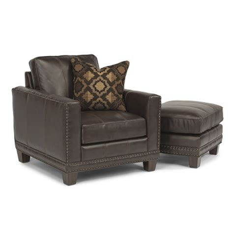 flexsteel 1373 10 08 port royal leather chair and ottoman