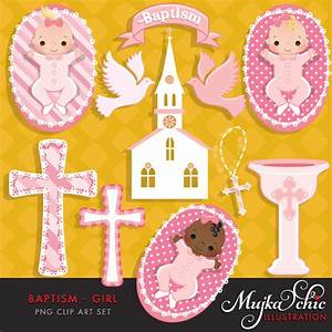 Baptism Clipart Baby Girl with cute babies, church, dove ...