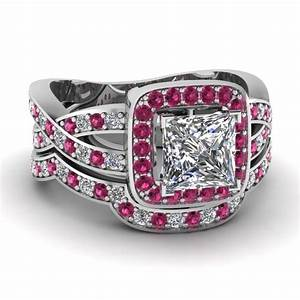 white gold princess white diamond engagement wedding ring With pink sapphire wedding ring sets