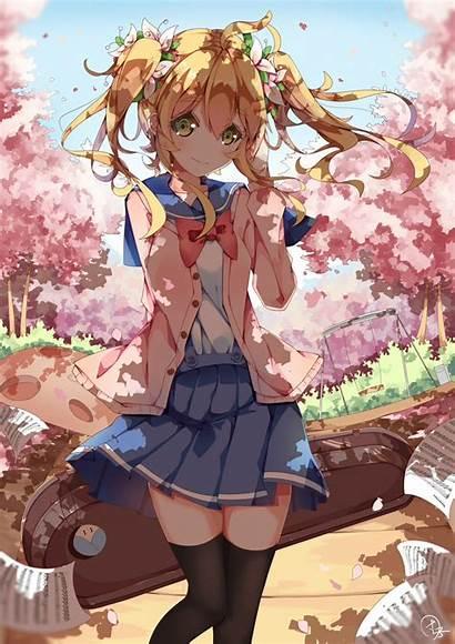 Anime Uniform Cherry Blossom Wallpapers Loli Blossoms