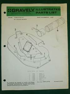 Gravely Completing Kit Illustrated Parts List Manual