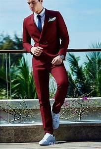 2018 New Men Groom Suit Wedding Dress Wine Red Suit Double Breasted Chic Two Piece Dress Jacket ...