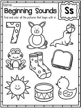 beginning sounds worksheets color  sound
