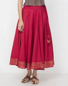 Buy Fabindia Red Cotton Plain Gota Trim Long Skirt online - Fabindia.com
