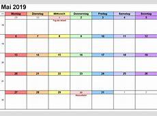 Mai 2019 Kalender druckbare VorlagenPDF, Word, Excel
