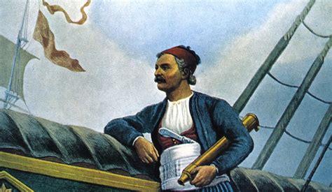 statue  andrea miaoulis hydras monuments hydra greece