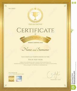 Certificate Of Participation Template Free Certificate Of Participation Template In Gold Color Stock Vector Illustration Of Print Gift