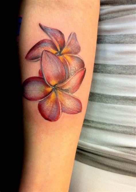 lovely red plumeria tattoo