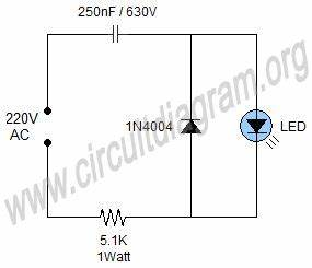 simple 220v mains indicator led circuit diagram With led wiring basics