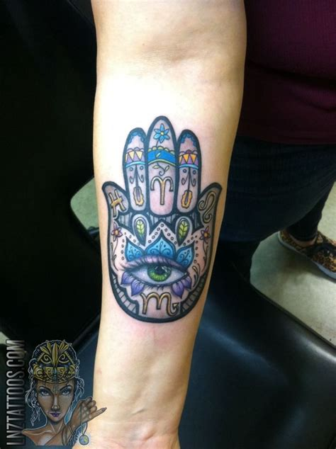 lnztattooscustom hamsa  forearm hamsa tattoo color