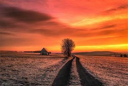 Winter Sunset Orange Sky Wallhaven Cc Snow