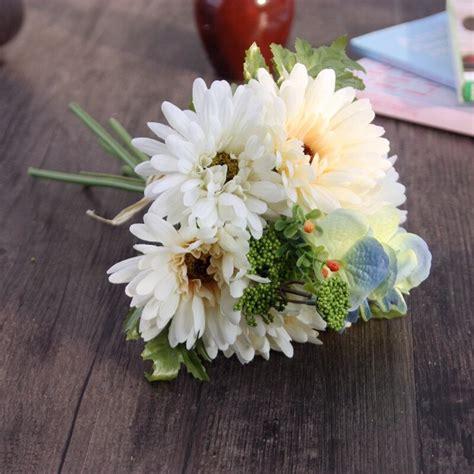 สัมผัสจริงประดิษฐ์จำลองไหมช่อดอกเดซี่Posyตกแต่งดอกไม้ผ้า ...