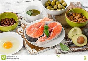 Food Sources Of Unsaturated Fats. Stock Photo - Image ...