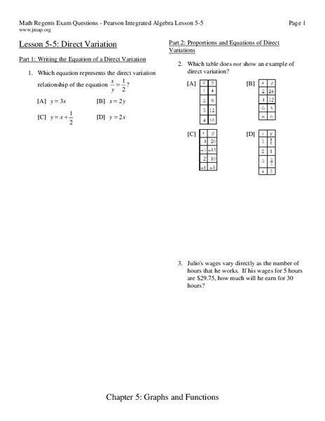 direct variation worksheet    grade lesson