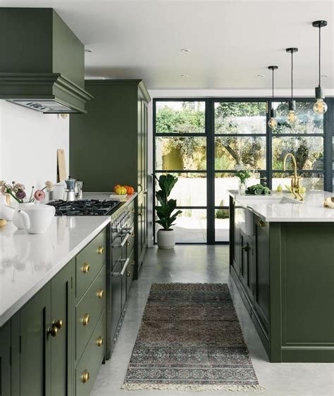 dark olive green shaker kitchen  hove  devol crittall