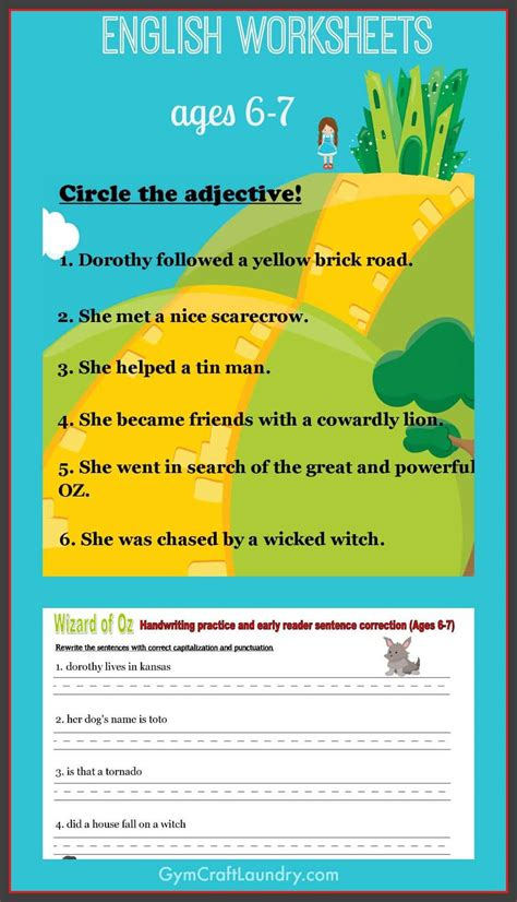 First Grade English Worksheets Wizard Of Oz Themed  Gym Craft Laundry