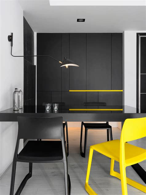 modern apartment  bright yellow accents