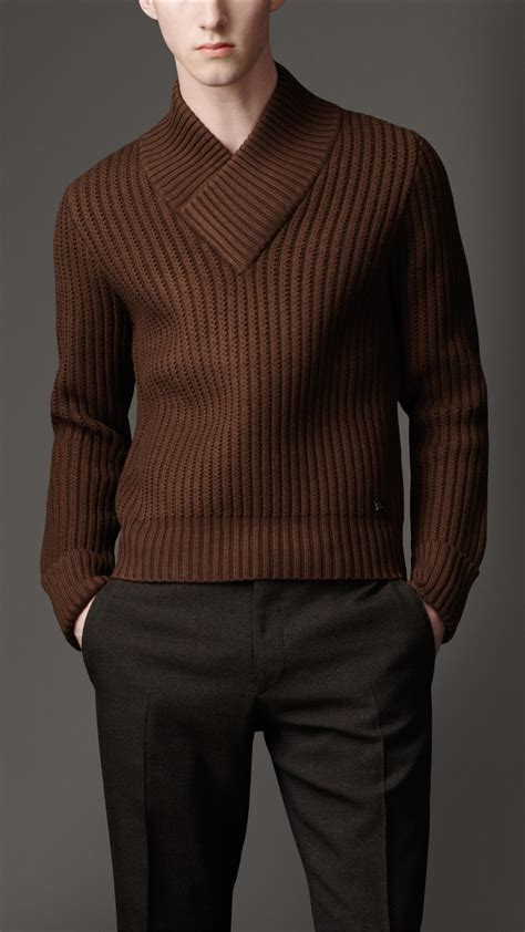 mens burberry sweater burberry shawl collar sweater in brown for lentil