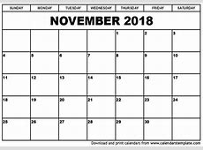 November 2018 Printable Calendar monthly printable calendar