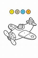 Airplane Numbers Coloring Transportation Preschool Supercoloring Vorschule Biz Flying Printable Learn Cufarul Martie sketch template