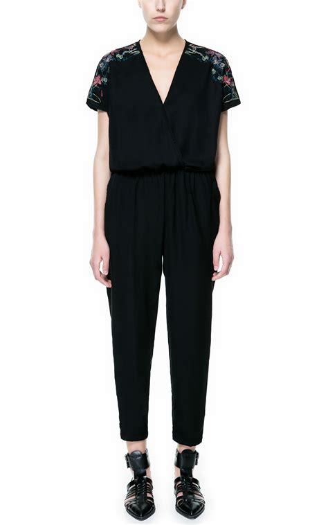and black jumpsuit zara crepe jumpsuit in black lyst