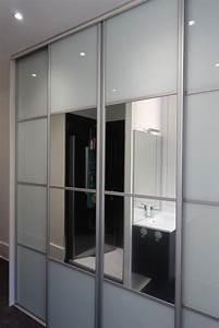 Porte Coulissante Placard Miroir : portes coulissantes en verre laqu blanc et miroirs ~ Melissatoandfro.com Idées de Décoration