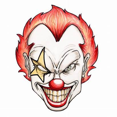 Clown Scary Evil Mouth Drawing Clowns Clipart