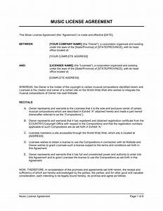 music license agreement template sample form biztreecom With musicians contract template