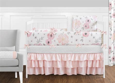 floral crib bedding jojo shabby chic blush pink gray floral watercolor