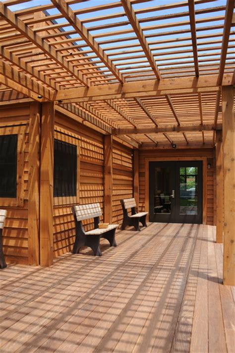 ipe wood deck  lattice contemporary deck