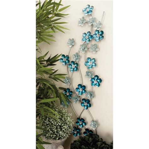 13 in x 50 in iron light blue flowers wall decor 23460