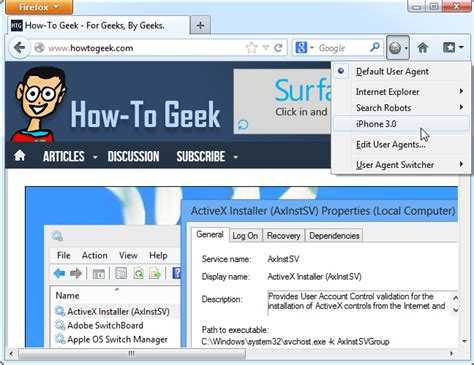 desktop agent user browser mobile switcher icon websites access using toolbar firefox onto drop iphone ilicomm