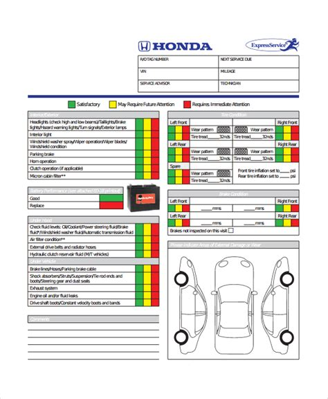 Motor Vehicle Inspection Checklist Template by 10 Vehicle Inspection Checklist Templates Pdf Word