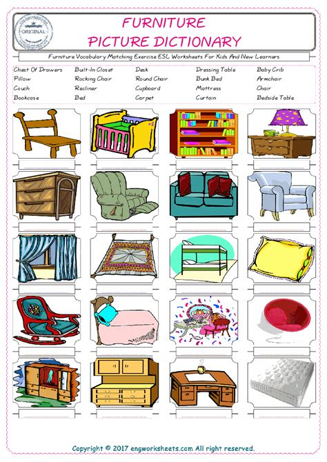 rooms   house esl printable picture dictionary