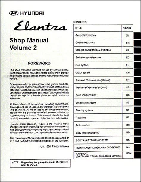 free online auto service manuals 1997 hyundai elantra interior lighting 1997 hyundai elantra repair shop manual original vol 1 2