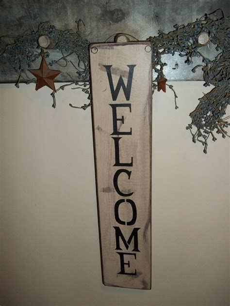 Wood Sign Welcome Handmade Rustic Primitive Country