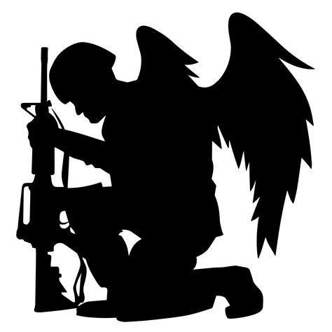 Get commercial use military graphics and vector designs. Military Angel Soldier With Wings Kneeling Silhouette ...
