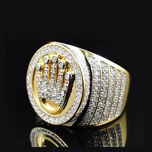 high quality king 18k gold crown ring mens hip hop bling With men s crown wedding ring