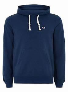 Topman Champion Navy Logo Hoodie in Blue for Men | Lyst