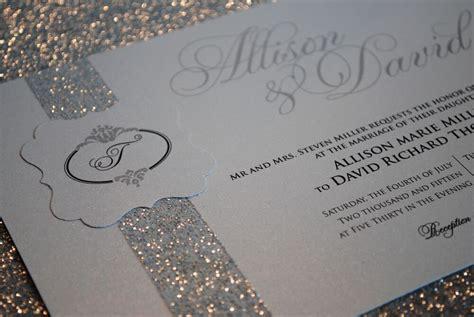 1 Sample Silver Wedding Invitation With Beautiful Glitter