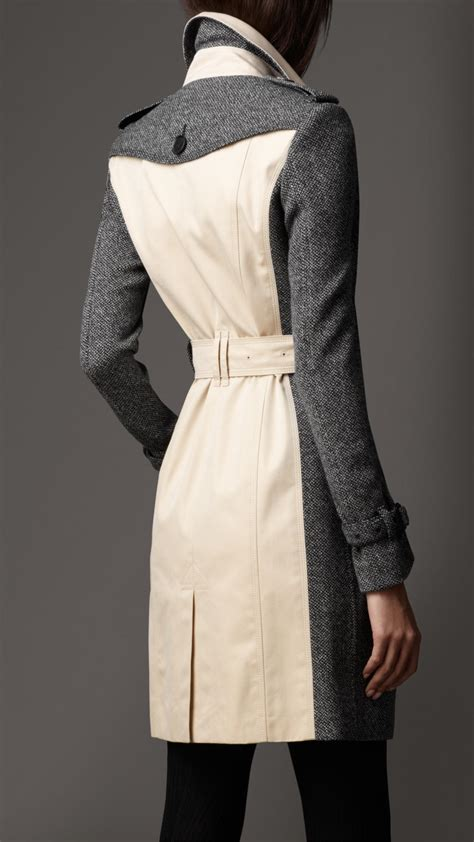 burberry long tweed panel trench coat  gray lyst