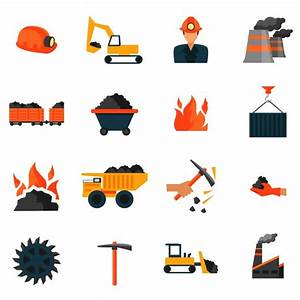 Coal mining factory industry icons set isolated vector ...