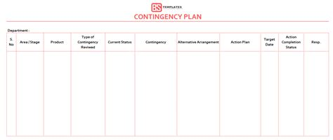 business contingency plan examples fee excel planning