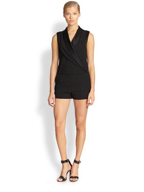tuxedo jumpsuit l 39 agence satinlapel tuxedo jumpsuit in black lyst
