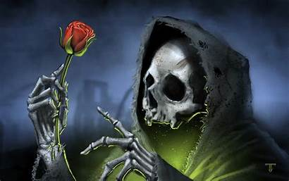 Skull Reaper Grim Roses Skulls Rose Death