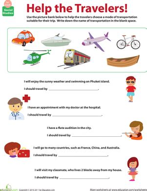 all about transportation which mode worksheet