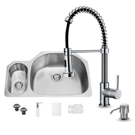 VIGO All in One Undermount Stainless Steel 32 in. Double