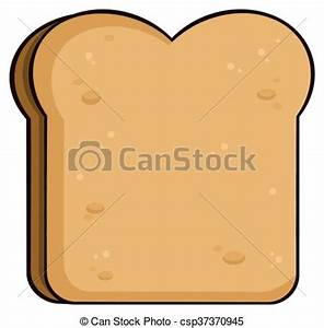 EPS Vector of Cartoon Toast Bread Slice. Illustration ...